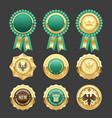 green award rosettes and gold medals - prize vector image