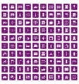 100 interior icons set grunge purple vector image vector image