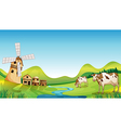 A farm with a barn and cows vector image vector image
