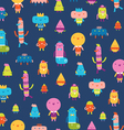 Abstract characters seamless pattern on blue vector image