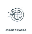 around the world icon outline thin line style vector image