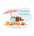 beach accessories and summer luggage on the beach vector image vector image