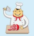 cartoon butcher cut meat vector image