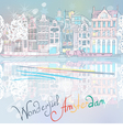 Christmas Amsterdam canal vector image vector image