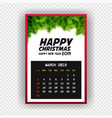 christmas happy new year 2019 calendar march vector image vector image