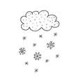 cloud and snowflakes nursery art minimalist vector image vector image