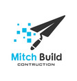 construction technology logo vector image vector image
