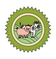 cow pig and hen farm vector image