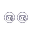 encrypted message or email line icons vector image