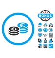 Euro and Dollar Coins Flat Icon with Bonus vector image vector image