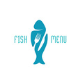 Fish food restaurant menu title logo Silhouette of vector image vector image