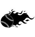 flaming baseball softball ball cartoon vector image vector image
