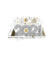 flat line design concept banner - happy new year vector image vector image