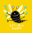 flying bee happy holding flowers vector image vector image