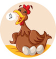 funny hen sitting on eggs singing cartoon mascot vector image vector image