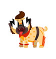 funny pug dog character dressed as a rock star vector image vector image