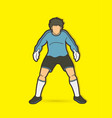 goalkeeper standing action soccer player graphic vector image