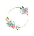 gold wreath with a blooming blue hydrangea vector image