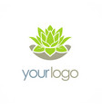 green lotus flower logo vector image vector image