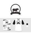 grunge cow logo design with business card and t vector image vector image