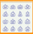 halloween pumpkin line icons handdrawn pen effect vector image