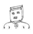 man with paper bag on his head vector image vector image