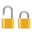 open lock metal lock 3d realistic security vector image