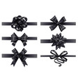 realistic black ribbons with bows dark festive vector image vector image