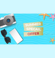 reative summer sale banner with sun glasses vector image vector image