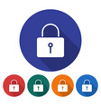 round icon of locked padlock flat style with long vector image