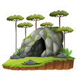 scene wtih cave and trees vector image vector image