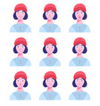 set female avatars with different emotions vector image