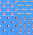 set of marine nautical seamless patterns good for vector image vector image