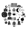 space exploration icons set simple style vector image