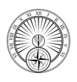 sundial white with windrose vector image vector image