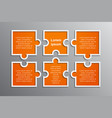 the puzzle infographics jigsaw six steps puzzle vector image