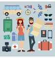 Tourist Man and Woman with Set of Travel Elements vector image vector image