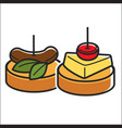 two small snacks vector image vector image