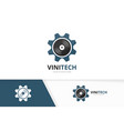 vinyl and gear logo combination record and vector image vector image