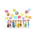 women senior online cartoon composition vector image