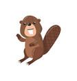 cute beaver woodland cartoon animal vector image