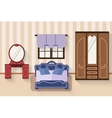 Bedroom with furniture and long shadows Flat vector image