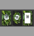 banners set with green tropical leaves vector image vector image