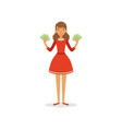 beautiful happy young successful rich woman vector image vector image