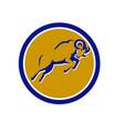 bighorn sheep jumping circle retro vector image vector image