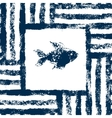 Blue and white fish in a striped frame woven vector image vector image