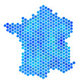 blue hexagon france map vector image
