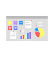 board with infographics and schemes visualization vector image vector image