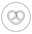 bow tied heart icon in circle round outline black vector image vector image