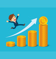 businessman are happy at bitcoin prices up vector image
